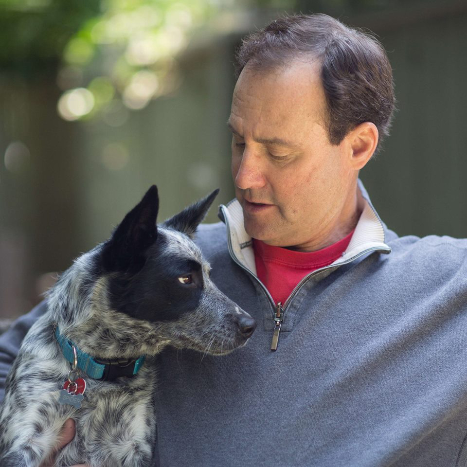 Positively Woof's Larry Kay and dog, Spider