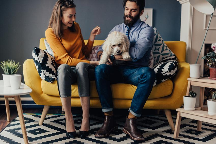 Man introducing dog to girlfriend