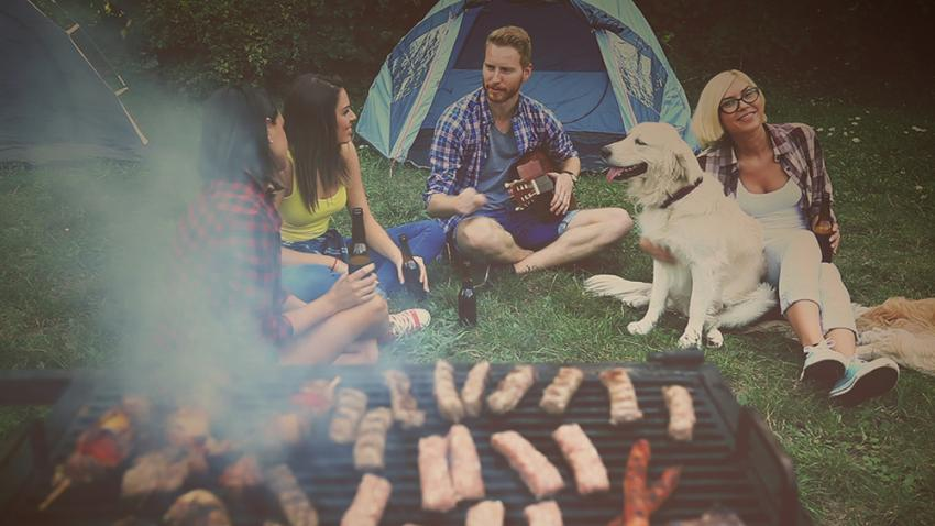 People grilling with dog nearby
