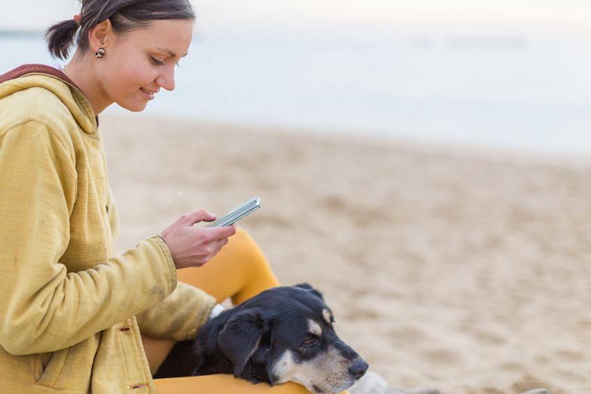 Woman with dog looking for pet friendly activities on mobile phone