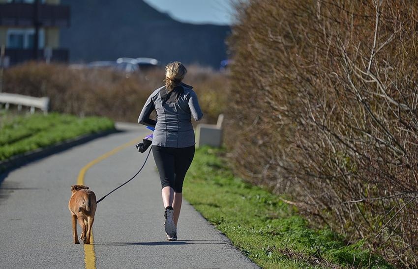 woman running with dog on trail
