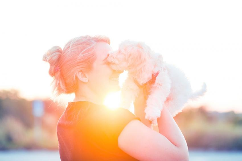 woman nuzzling a dog in the sunshine