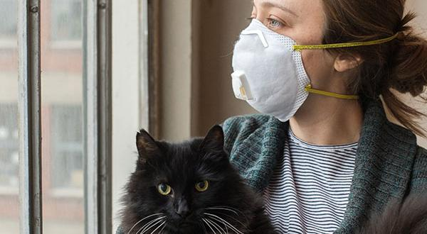 woman with mask holding cat near window
