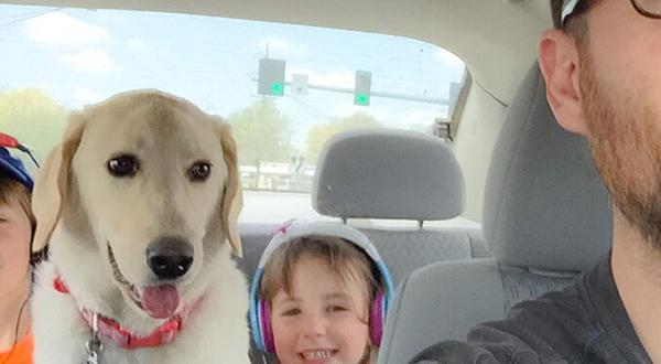 family takes road trip with dog with kids